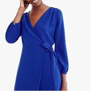 🆕 J. Crew Wrap Dress in 365 Crepe cobalt blue